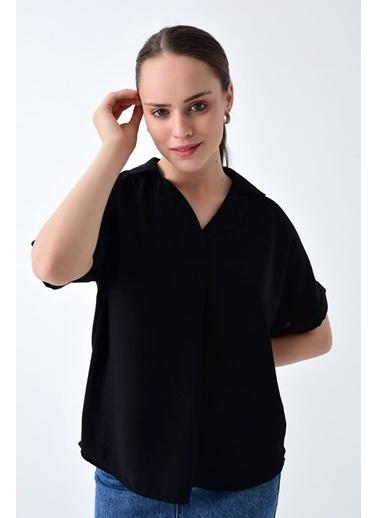 Cottonmood 9152967 Sunshıne Ceket Yaka Sırtı Düğme Detaylı Yarasa Bluz Mor Siyah